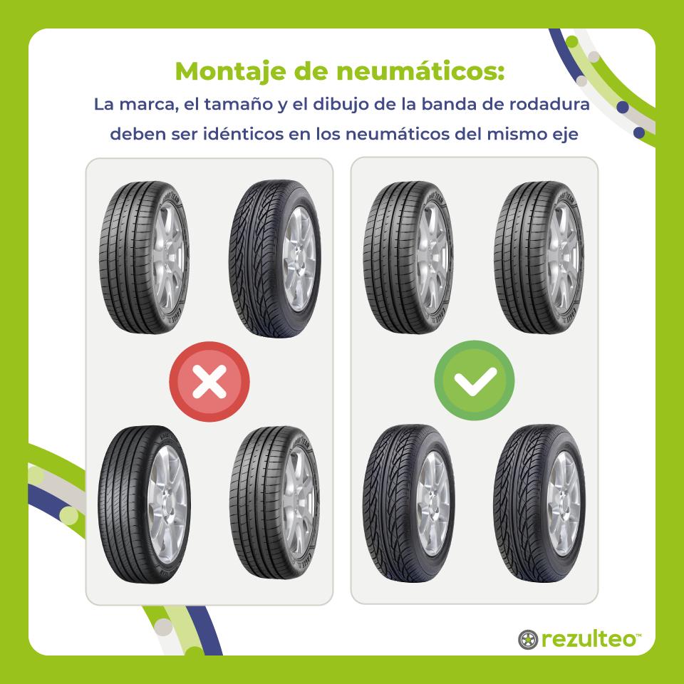 Neumáticos diferentes en los 2 ejes