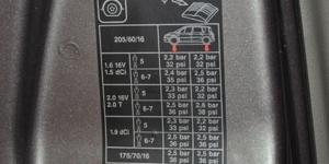 Etiqueta presión recomendada en la puerta del vehículo